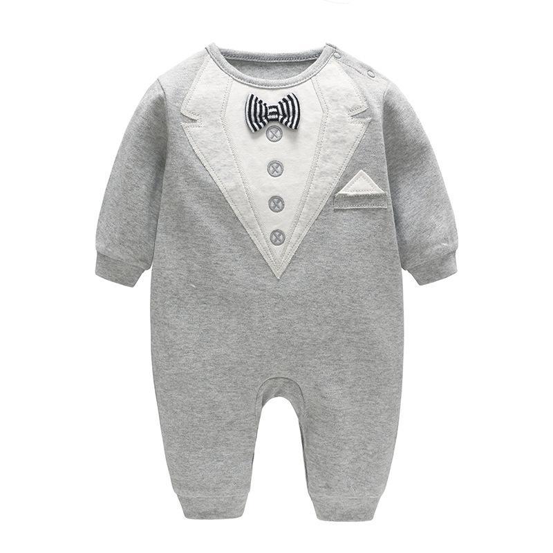 0944c36fe 2019 BABY BOY Clothing ROMPER 2018 Autumn New Baby Gentleman Romper ...