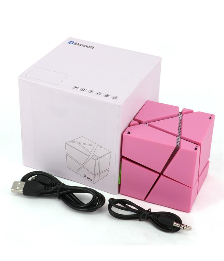 Qone Mini Cube Speakers 3D Stereo Sound Portable Bluetooth Speaker Wireless Music Box Support TF Card With Retail Box Better Charge 3