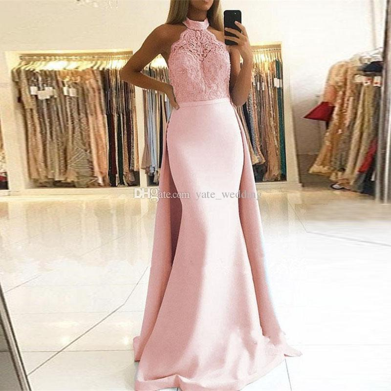 aa785ff05b65 Elegant Halter Lace Pink Prom Dresses Sleeveless Satin Floor Length  Detachable Train Backless Mermaid Light Sky Blue Evening Party Dresses  Strapless Prom ...
