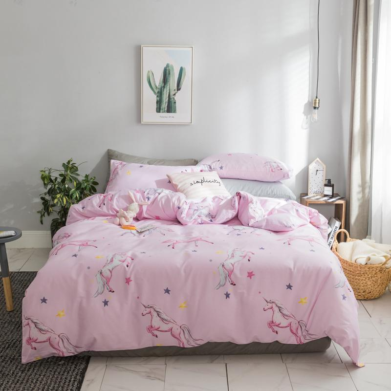 Pink Blue 100cotton Cute Bedding Set Queen King Size Fitted Bed