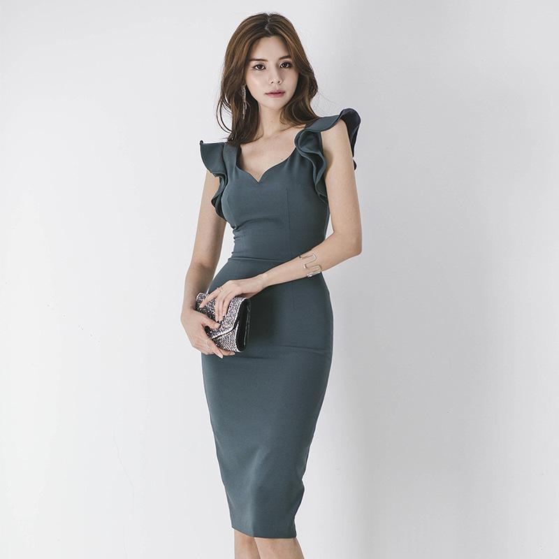 1cf139aef31f 2019 Career Formal Dresses For Women Bodycon Midi Dress Tight V Neck Lotus  Leaf Sleeve Knee Length Work Dress From Sinofashion