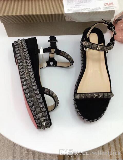 WUS586 Red Bottom Cataclou spiked metallic wedge Gladiator sandals summer ankle strap rievts sandalias mujer -- ladies party dress