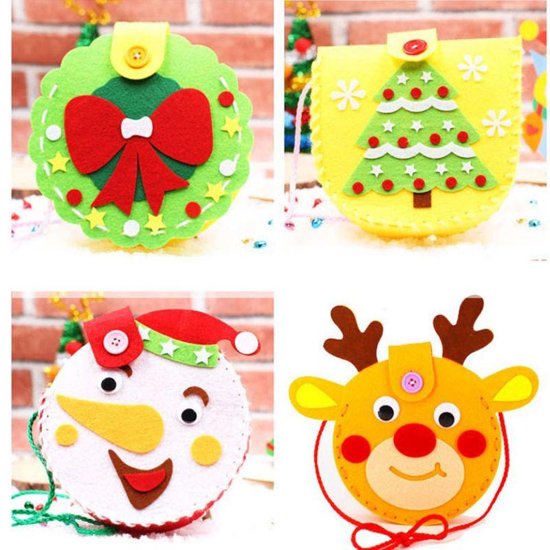 Diy Handmade Candy Bag Xmas Children Handbag Kids Baby Snowman Elk