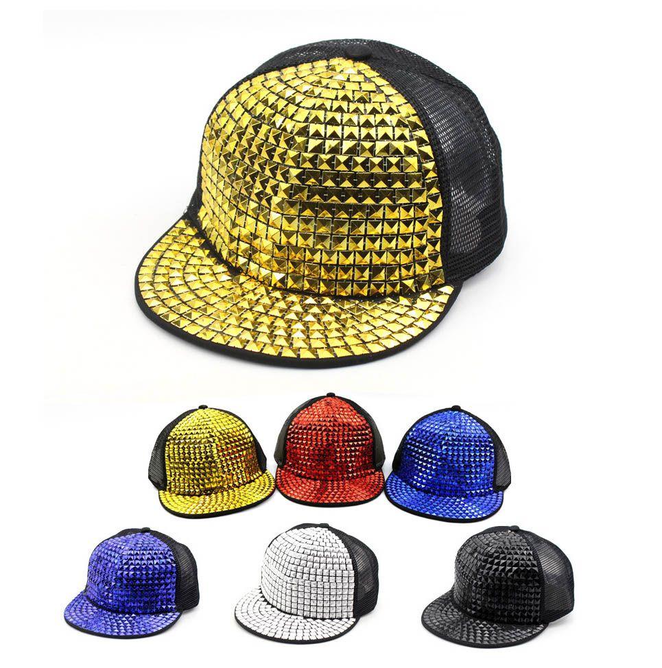 Kids Snapback Caps Children Baseball Hat Adjustable Mesh Cap Girls Boys  Gold Spikes Spiky Studded Hiphop Cap Baseball Caps For Men Mesh Hats From  ... 043e344e57a