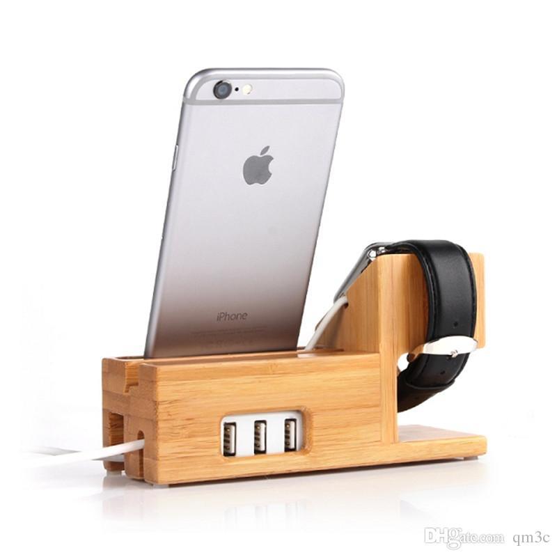 Universal 3 USB Chargeur De Téléphone Téléphone Station D'accueil Mobile Téléphone Titulaire Smartphone Support De Support En Bambou Support Pour Apple Watch IPad Titulaire