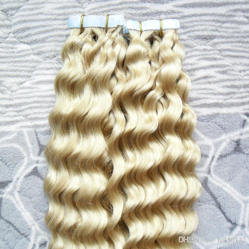 613 Bleach Blonde Apply Tape Adhesive Skin Weft Hair 100g afro kinky curly tape in human hair extensions