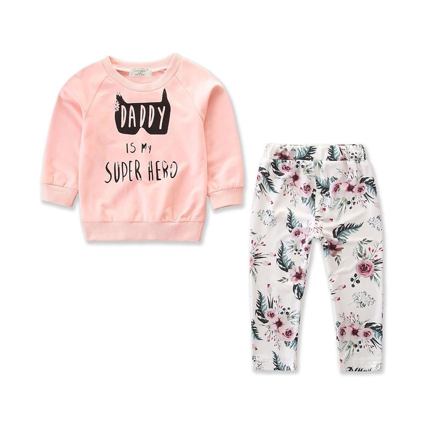 f4a5b32cfb69 2019 Autumn Kids Baby Clothes Set Baby Boy Girl Long Sleeve T Shirt Tops  Daddy Is My Print Tee Floral Pants Outfits Set From Cassial