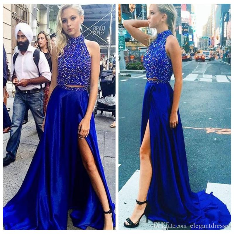 9452c65a133 2018 High Neck Royal Blue Two Pieces Prom Dresses A Line Front Split  Evening Gowns Floor Length Party Celebrity Red Carpet Party Wear Beaded Long  Prom Dress ...