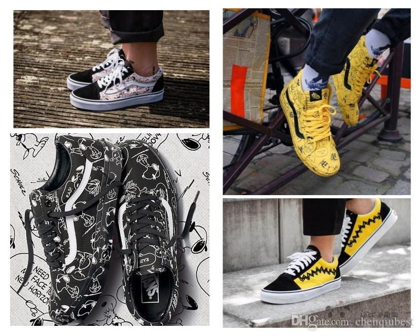e2db21b53313 2019 VANS Vault X Peanuts Old Skool 2018 New Authentic Sk8 Hi Mens Designer  Sport Shoes For Men Sneakers Women Brand Casual Trainers From Chenqiubest