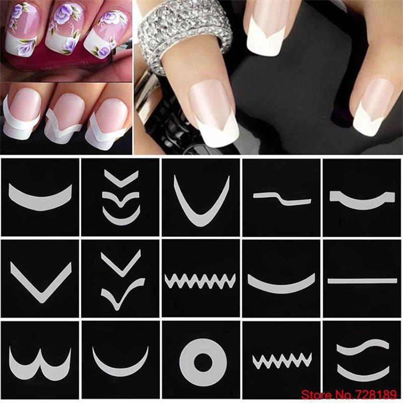 Nail Art Guide Tips Hollow Stencils Sticker French Manicure Template ...