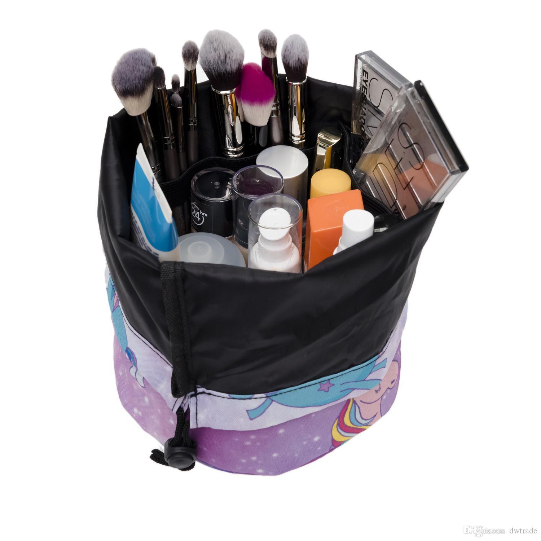 Единорог 3D шаблон печатных баррель Shaped макияж сумка женщины кисть необходимости косметическая сумка путешествия туалетные принадлежности ящик для хранения макияжа мыть организатор