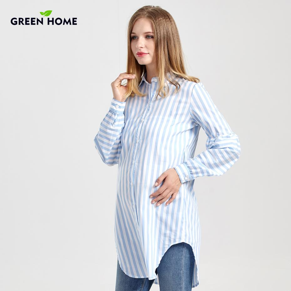 90a0da7f385ec 2019 Green Home Maternity Long Blouse Pregnancy New Nursing Tops Soft  Thicken Maternity Striped Comfortable Shirts Women Clothing From Cover3085,  ...