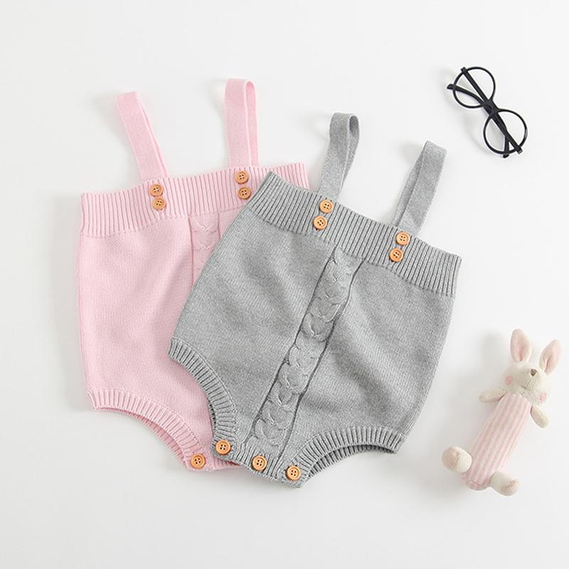 2017 Autumn Baby Overalls Infant Clothes Baby Rompers Spring Toddler Boys Girls Button Woolen Knitted Overalls Strap Pants Baby