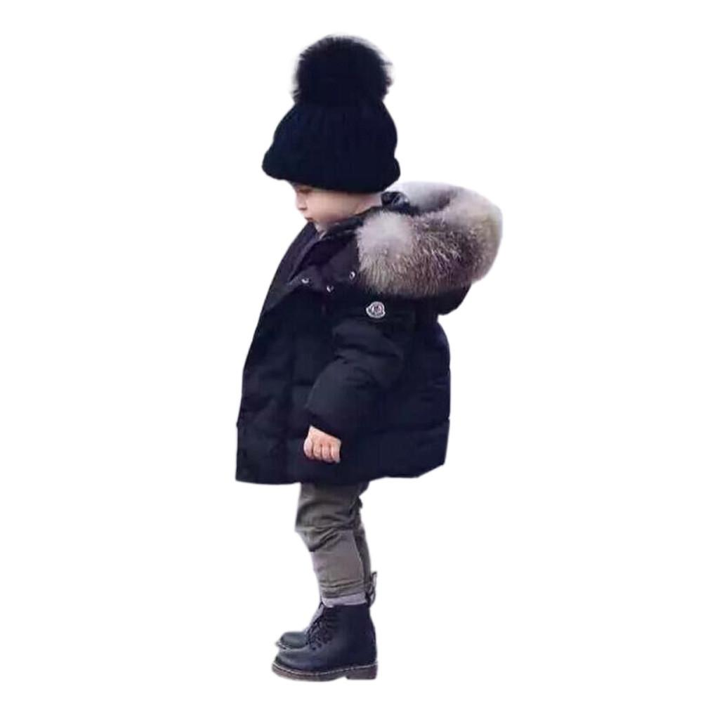 86034ff137006 Cute Baby Thick Coat Winter Warm Hooded Jacket Coat Solid Cotton for ...