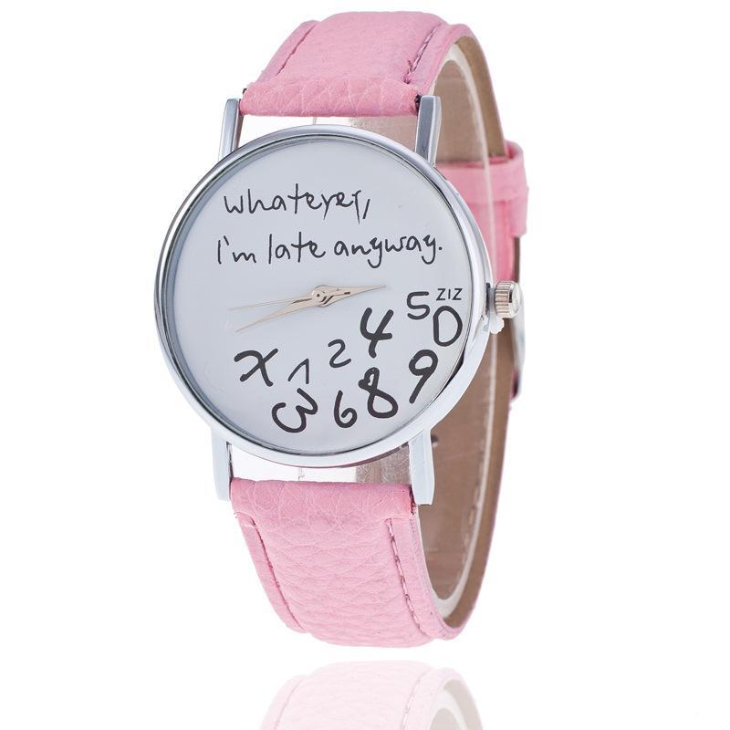 Halloween Funny Unisex Men Women Analog Quartz Whatever,I`m Late Anyway Wrist Watch Christmas Gifts New Year Gifts
