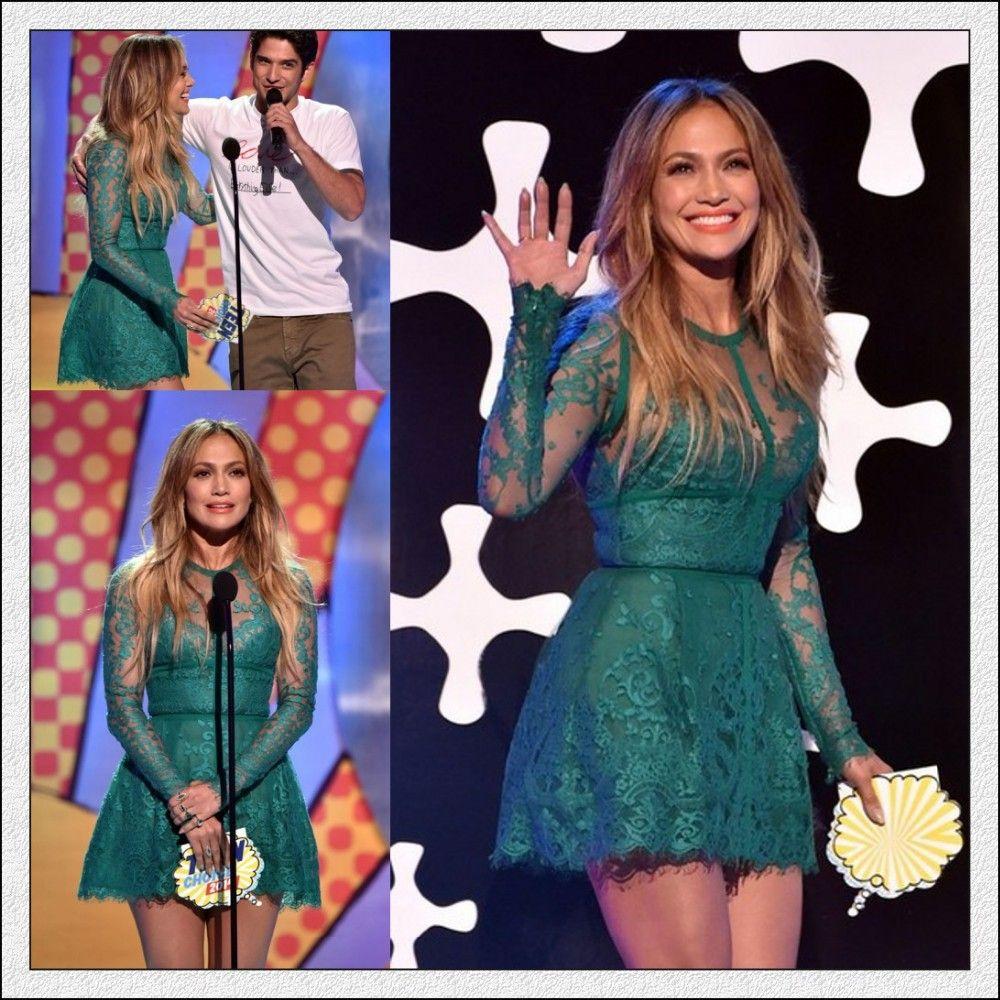 Stunning Jennifer Lopez Elegant Green Sheath Short Celebrity Dresses Long Sleeves Prom Dress Cocktail Dresses