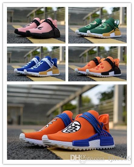 BoxHuman Race Shenron Dragon Ball Pharrell Williams Casual Shoes Holi Pink  Son Goku Men Women Hu Trail Vegeta Holi Equality Cream Sneakers White  Running ... 5d1584655077