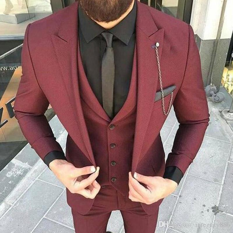 Burgundy Groom Tuxedos Peak Lapel Men Wedding Tuxedos Excellent Men Business Dinner Prom Blazer 3 Piece Suit(Jacket+Pants+Tie+Vest) 1200