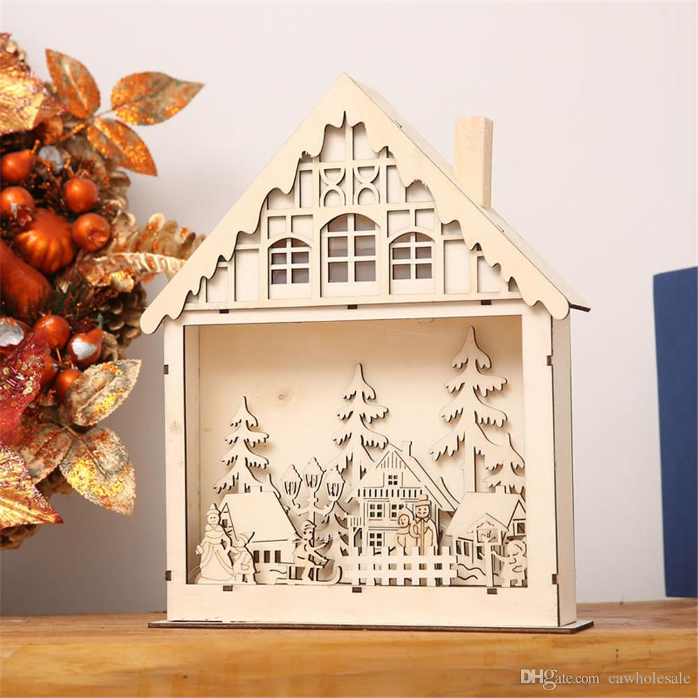 creative led christmas house patio style wooden christmas village decorationcrafts lighting shopping malls and window decorationprops decorate a room - Wooden Led Christmas Decoration