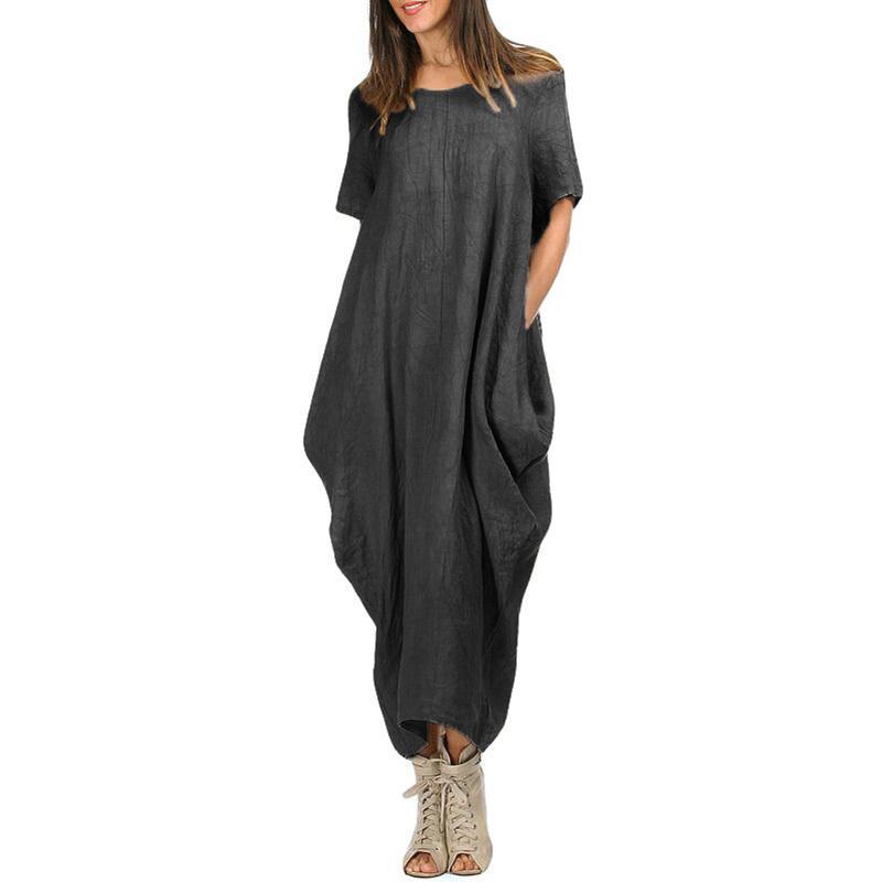 a9e8e968ba76 Casual Women Loose Maxi Dress O Neck Short Sleeve Pocket Summer 5XL Plus  Size Dress Asymmetric Baggy Oversized Large Long Dress Black Women In Dresses  Long ...