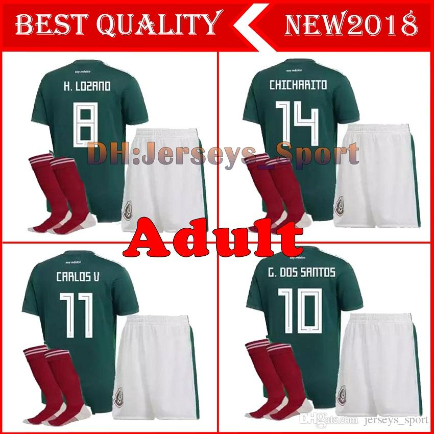 fa07688cdd6 2019 Adult Kit Mexico Soccer Jersey 2018 World Cup Mexico Jerseys Home Kits  Customize CHICHARITO G.DOS SANTOS H.LOZANO Sets Football Shirts Sock From  ...
