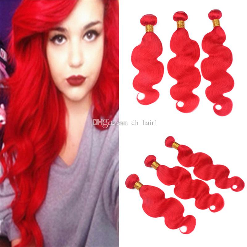 Pure Color Red Virgin Malaysian Hair Weave 3 Bundles Body Wave Wavy