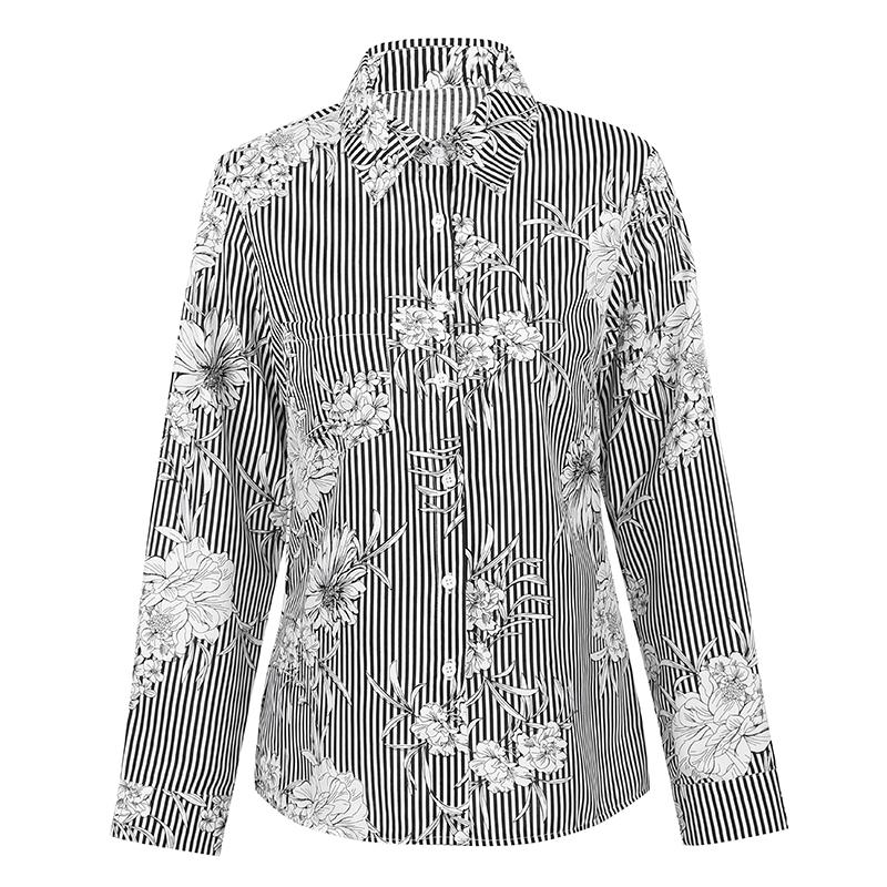 bc116120 Women Plus Size Shirt Stripe Floral Print Turn Down Collar Long ...