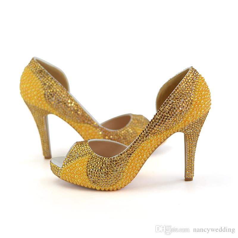Peep Toe Gold Pearl Rhinestone Bridal Dress Shoes and Clutch Platform 4 Inches High Heel Wedding Party Shoes with Matching Bag
