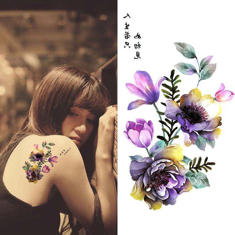 Acheter Colore Grande Fleur Art Corporel Chinois Etanche Aquarelle