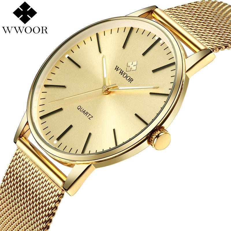 7d543563f8fe Compre WWOOR Mens Relojes Impermeable Delgado Reloj De Cuarzo De Oro Hombres  Top Marca De Lujo Banda De Malla De Acero Inoxidable Deporte Reloj Reloj ...