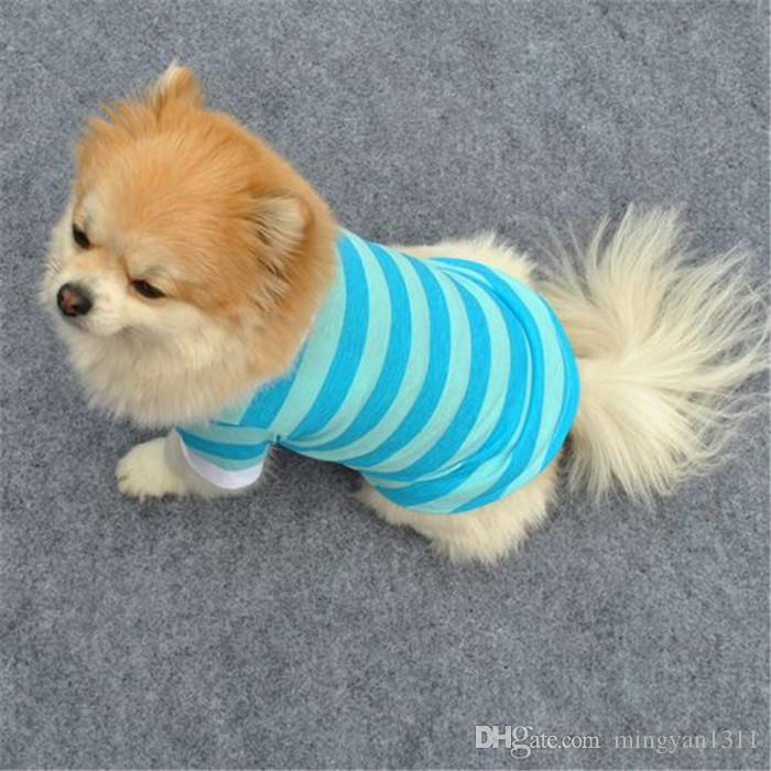 Classic Spring Summer Pet Dog Cotton striped Polo Short Sleeve Shirt High Quality Wholesale