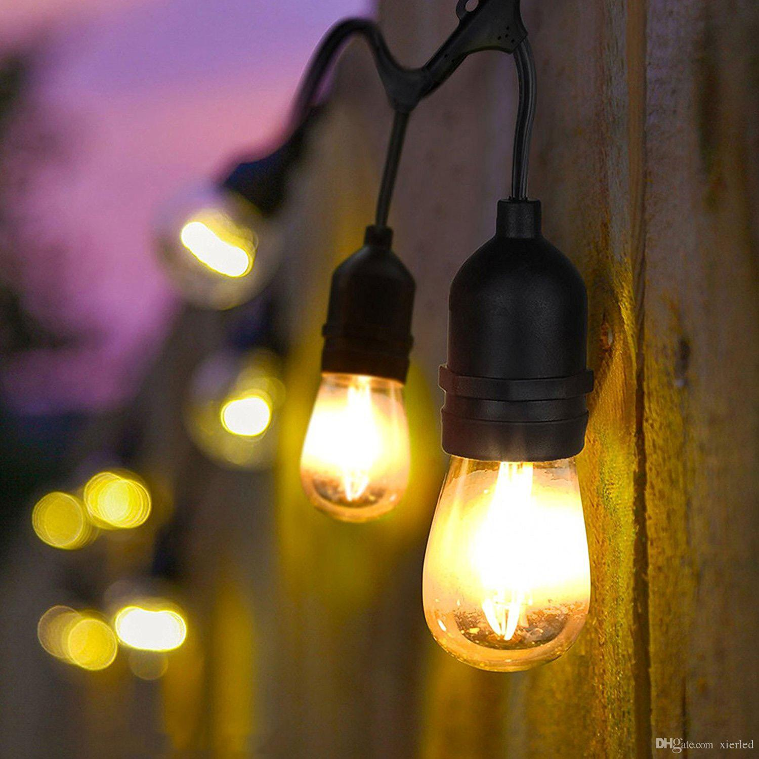 Outdoor String Lights With Edison Vintage 15 S14 Bulbs15 Dropped SocketsWeatherproofPerfect For Patio Cafe Umbrella Bistro Yard Flower String Lights ... & Outdoor String Lights With Edison Vintage 15 S14 Bulbs15 Dropped ...