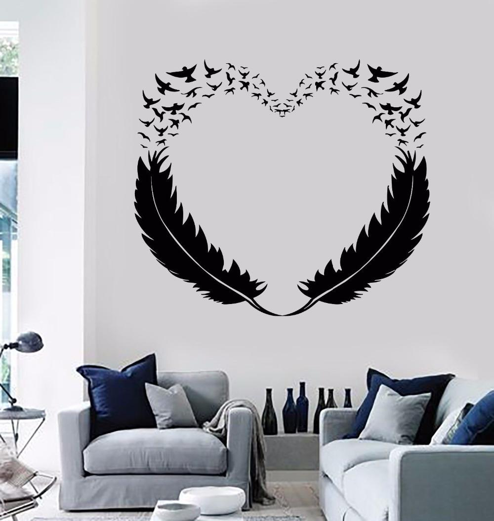 Feathers Heart Wall Sticker For Living Room Bedroom Home Wall