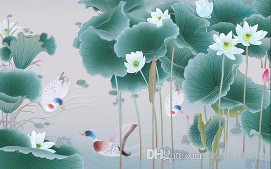 Photo Wallpaper High Quality 3D Stereoscopic HD hand-painted lotus TV background wall decorative painting Living Room Wallpaper 3D Painti