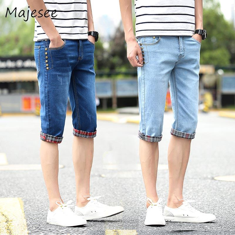 2019 Summer Men Denim Shorts Mens Thin Stretchy Short Cotton Solid
