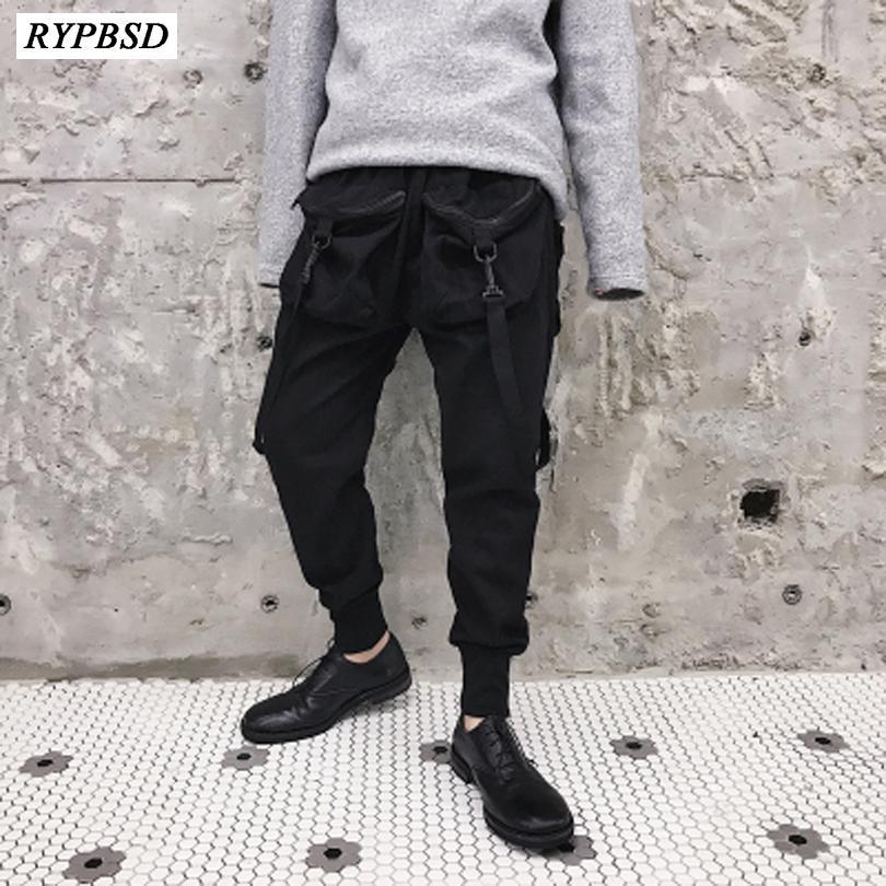 1774071f372a9 Compre Hombres Bolsillos Grandes Pantalones De Carga Ocasionales Moda  Masculina Hip Hop Punk Pantalones Harem Pantalones De Chándal Pantalones De  Calle ...