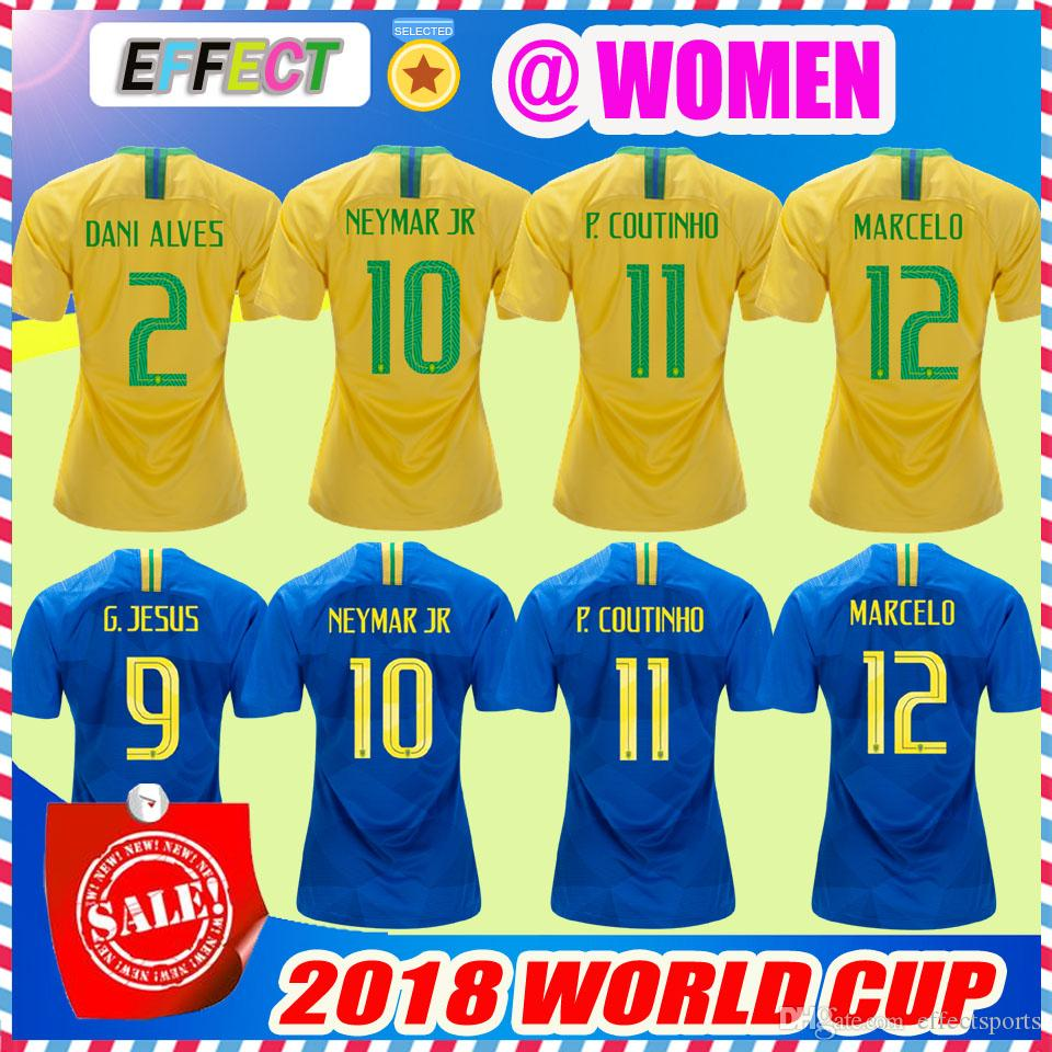 Buy Cheap Soccer Jerseys For Big Save, Women 2018 World Cup Brazil Neymar Jr  Soccer Jersey Home Yellow Away Blue Marcelo P.Coutinho Jesus Pele Camisa De  ...
