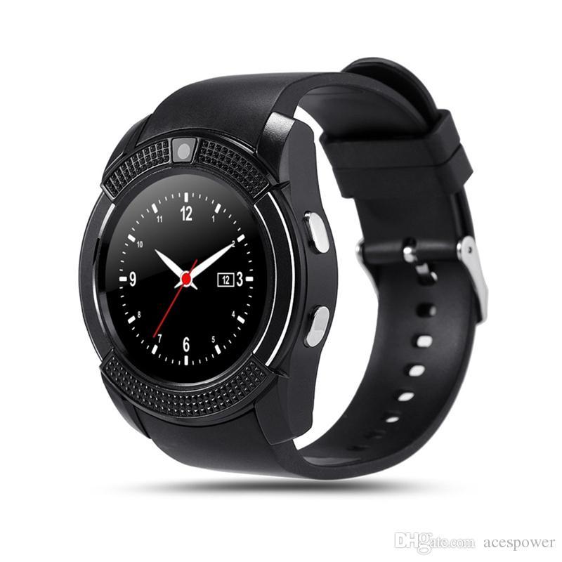 V8 Akıllı İzle Spor Smartwatch 0.3 M Kamera SIM IPS HD Android Sistemi için HD Tam Daire Ekran
