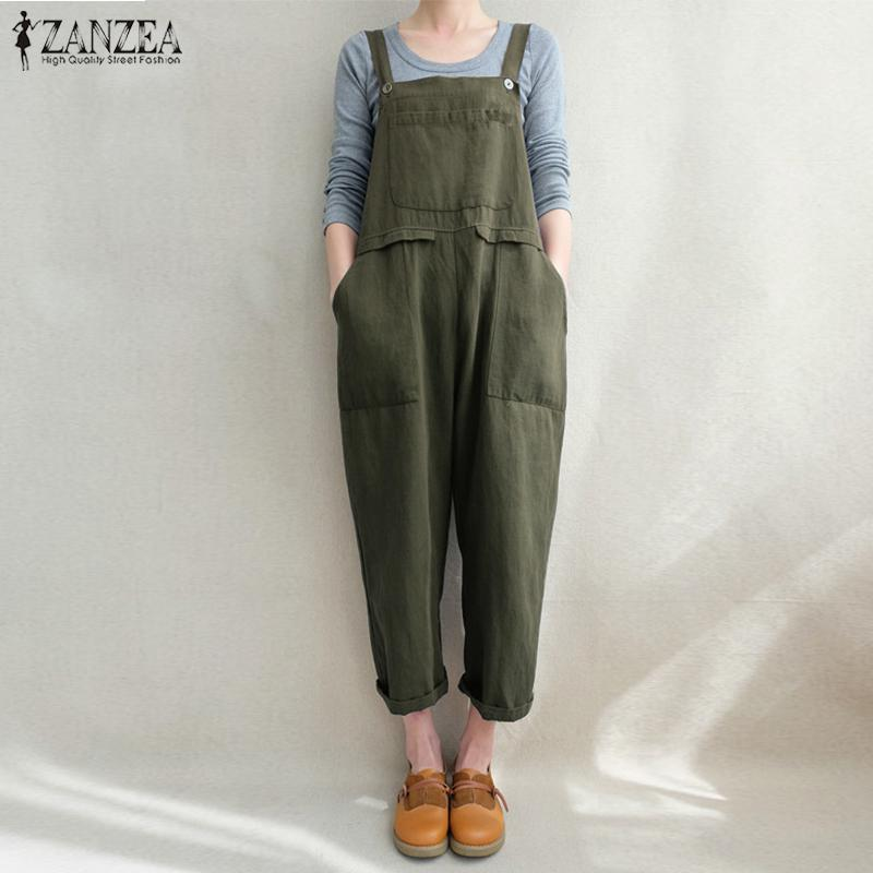 2019 Oversized Women Casual Sleeveless Strappy Pockets Jumpsuits Summer Party Long Playsuit Cotton Linen Overall Bodysuit Women's Clothing