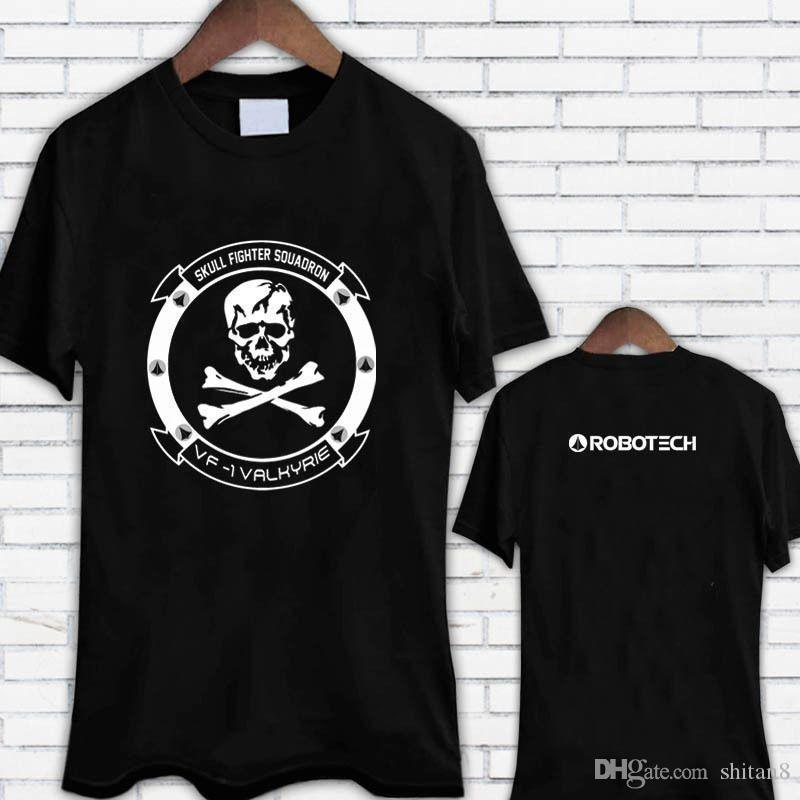 89b982fbd Robotech Skull Squadron Fighter VF 1 Black Tee Shirt T Shirt Simple Short  Sleeved Cotton T Shirt Top Tee Couple Silly T Shirt Make Your Own Tee Shirt  Design ...