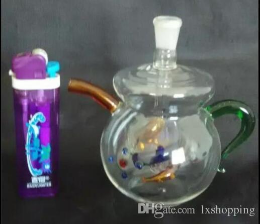 Tetera de cristal de la cachimba del color, quemador de aceite único Tubos de cristal Tuberías de agua Tuberías de cristal Plataformas petroleras Fumar con Droppe GGFDFT