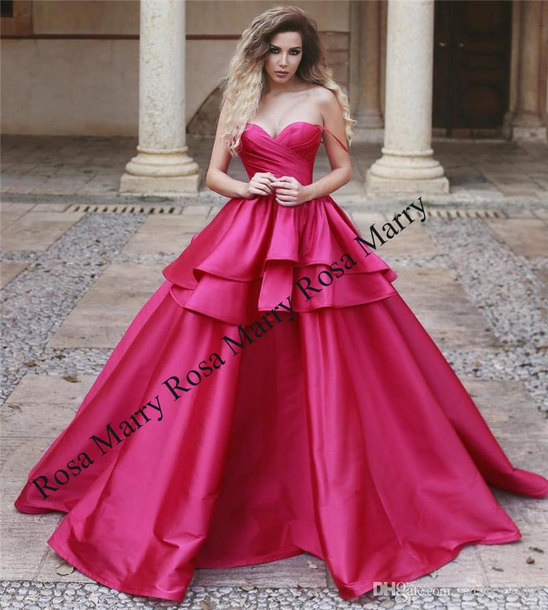 Rose Red Ball Gown Arabic Prom Dresses 2018 Cheap Off Shoulder