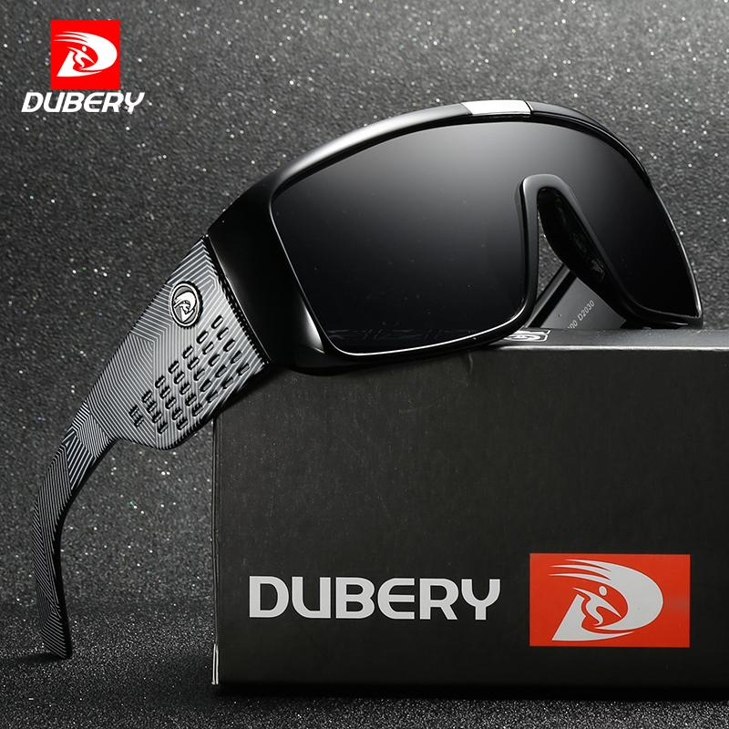 DUBERY Cool Big Wide Leg Sunglasses Men Sport Protective Goggles Oversized Sun Glasses For Men Retro Reflective Coating UV400