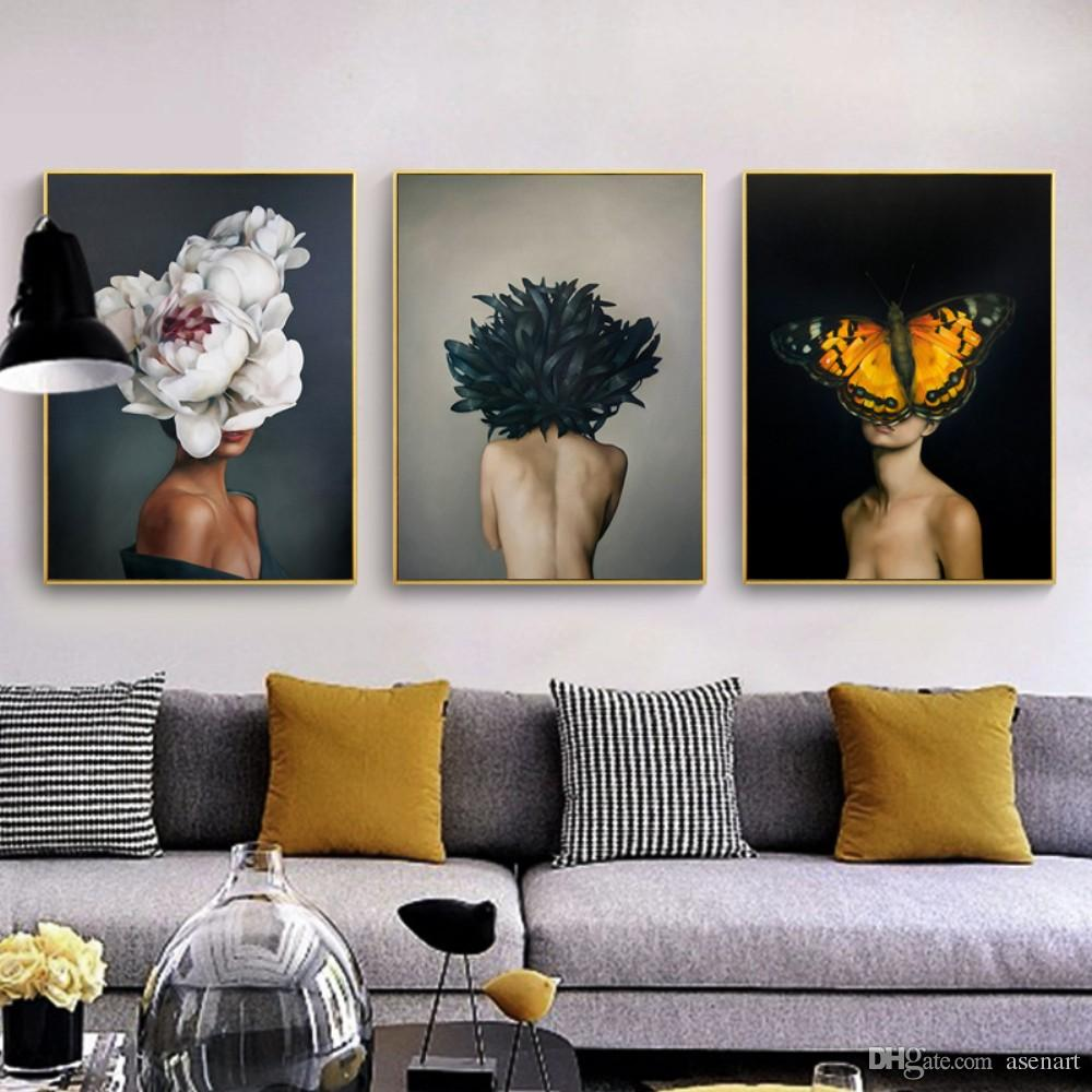 2019 beautiful feather wings girl works wall art print pictures single modern canvas painting for living home dinning room home decor no frame from asenart