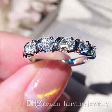 Anello di fidanzamento di gioielleria in argento sterling 925 nuovo di zecca con cubic zirconia le donne matrimonio alto regalo lucidato spedizione gratuita
