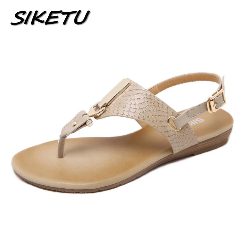 6be1b58a05ec SIKETU New Summer Women Wedge Sandals Shoes Woman Metal Decoration Buckle  Flip Flip Beach Sandals Plus Size 35 41 Black Apricot Bamboo Shoes High  Heels ...