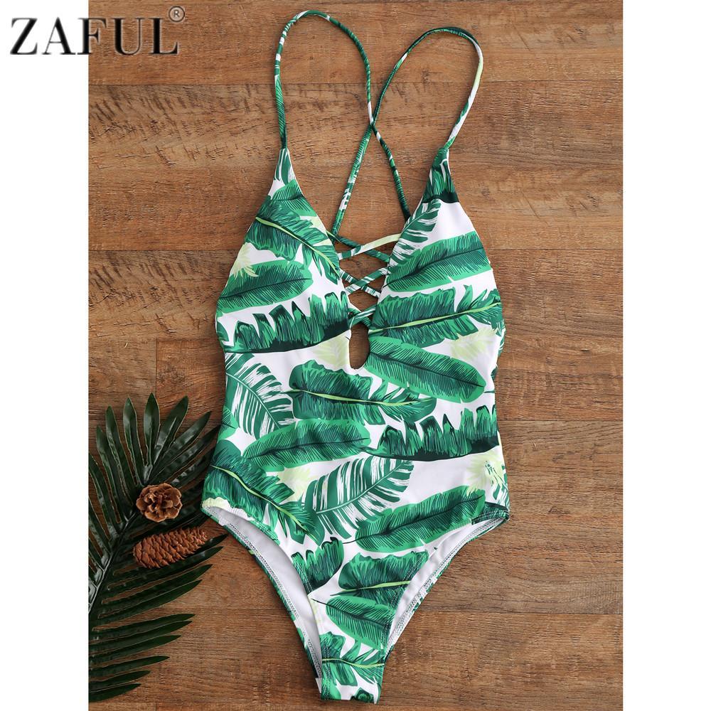 eb62b765d2 2019 ZAFUL 2017 Sexy Leaf Print Swimwear Women One Piece Swimsuit Hollow  Out Bathing Suit Swimwear Beach Bandage Backless Monokini From Brry