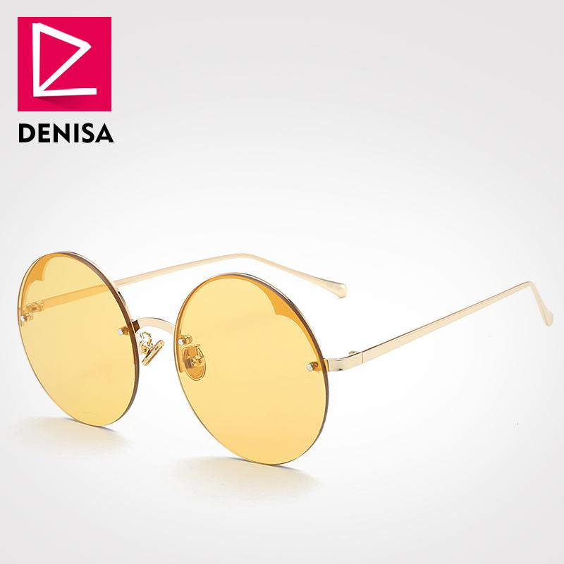 ab4f890d97 DENISA Fashion Unisex Vintage Round Sunglasses Women Men Steampunk Rimless  Glasses Black Red Sun Glasses UV400 Zonnebril G17075 Sunglasses For Women  Cat Eye ...