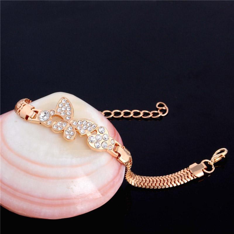 SHUANGR Gold-Farbe Stellux österreichischen Kristall Schmetterling und Herz Charm Armband für Frauen Hochzeit JewelryTH2862