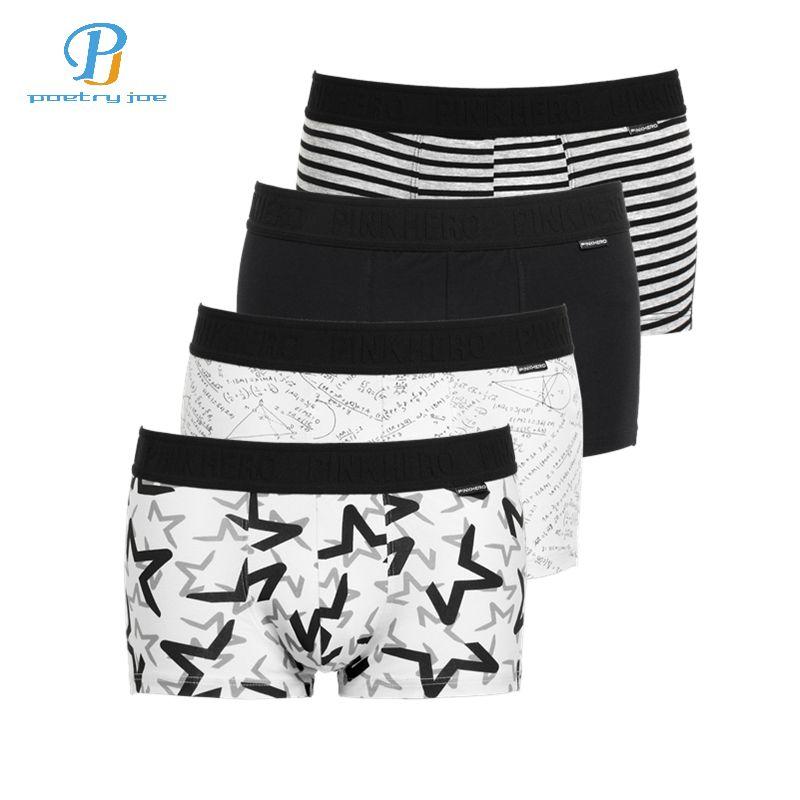 b557023dc Compre HERÓIS ROSA 4 Pçs   Lote Homens Underwear Boxers Coon Imprimir Preto  Branco Cinza Men Boxer Cueca Sexy Conforto Calções Dos Homens Calcinhas De  ...